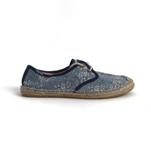 Soludos Blue Floral Lace Up Espadrille Sneakers 7